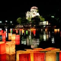 福島発のメッセージ灯ろうが広島で流されます