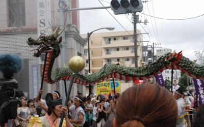 川開きで奉納された「金華山の龍(蛇)踊り」