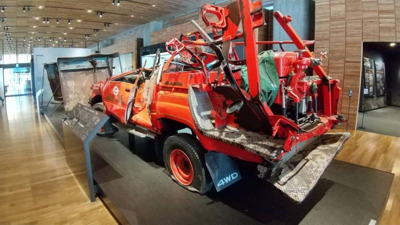 津波に流された田野畑村の消防車