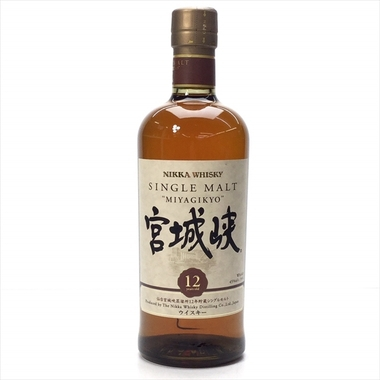 宮城峡12年。日本のウイスキーはラベルの「書」が素晴らしいですね!