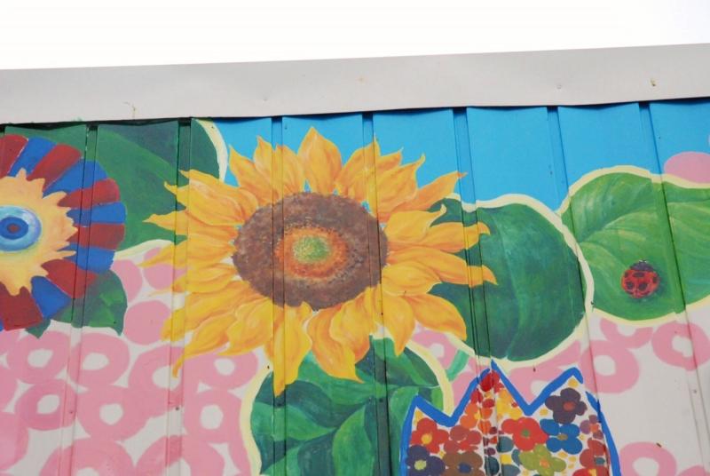 石巻・立町復興ふれあい商店街のひまわり「花の芽をつなぐ活動」