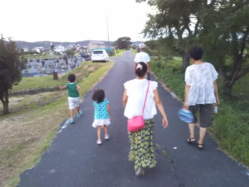 観察会から帰ってから、歩いて遠州の花火大会を見に行きました。子供たちはまだまだ元気です!