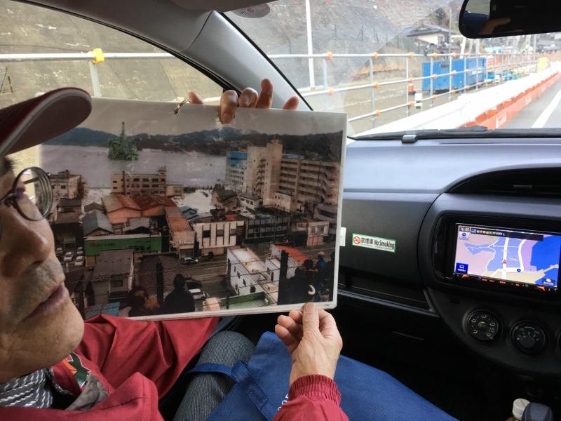 高台から撮影した震災当時の釜石の町