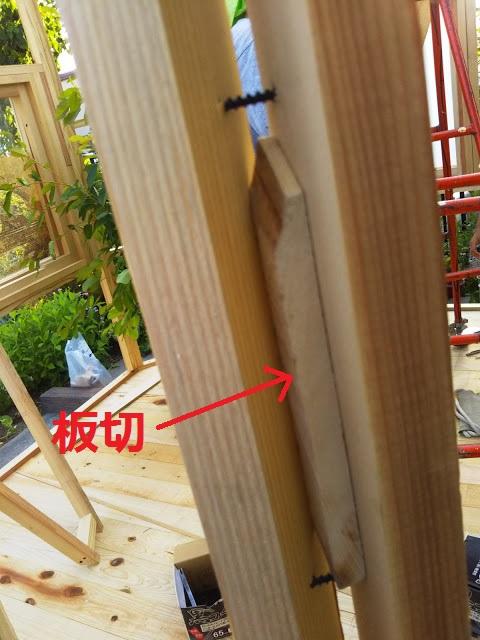 垂直がズレてしまったのか、壁の間に隙間が出来てしまいました。とりあえず、板切れを入れて調整・・・。