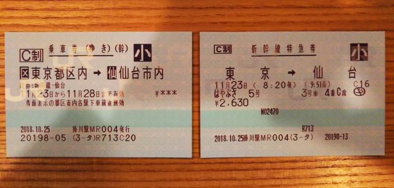 娘:東京→仙台(掛川→東京は自由席のため無料)