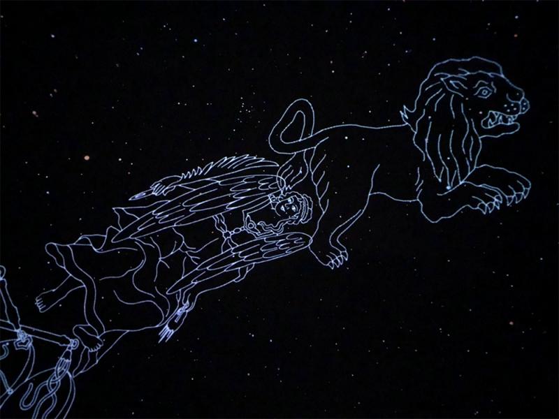 プラネタリウムの美しい夜空。番組終了後の撮影可能な時間にて。
