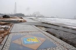 火力発電所近くの海浜公園の遊歩道