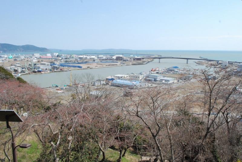 石巻の街なか、日和山から日和大橋を望む。桜色のつぼみがきれいです