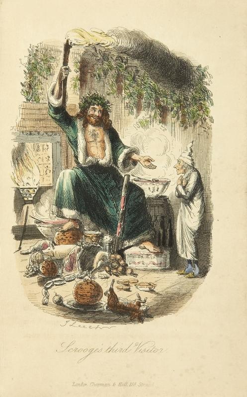 現在のクリスマスの精霊 Scrooges_third_visitor-John_Leech,1843