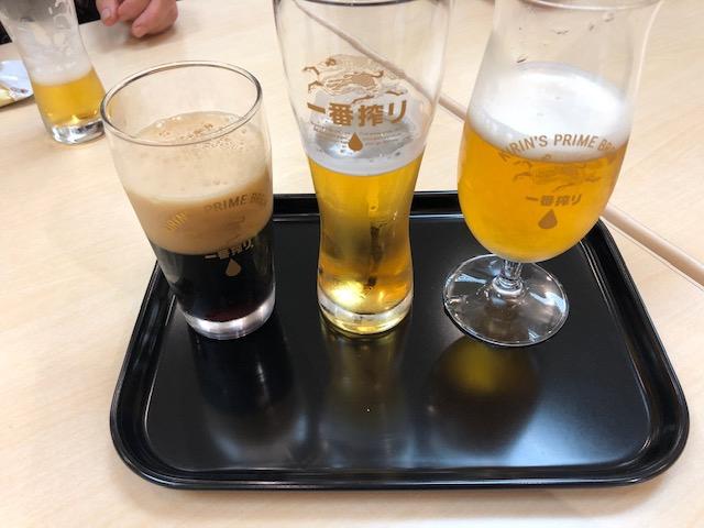 左:キリン一番搾り〈黒生〉、中:キリン一番搾り生ビール、右:一番搾りプレミアム