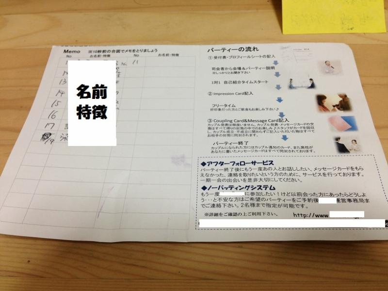 配布された紙に、相手の名前、特徴などをメモるのだ!