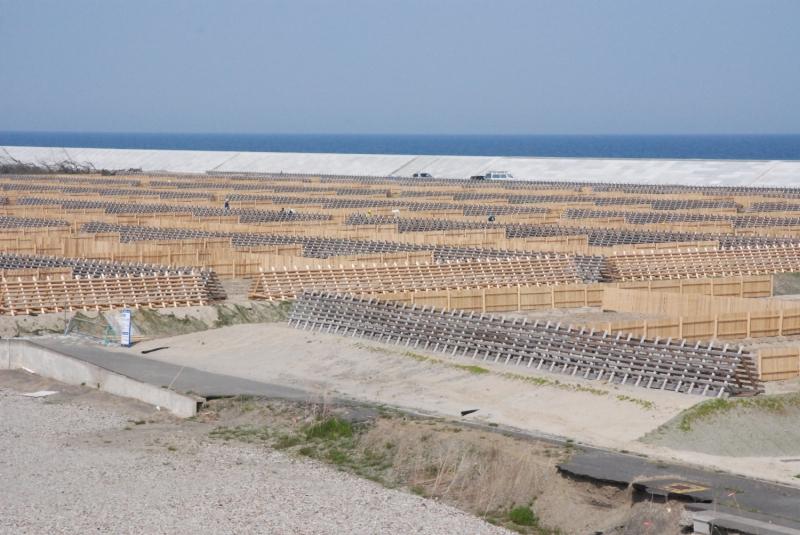 海岸に並ぶ幾何学的な構造物は松の苗木の風除けだという