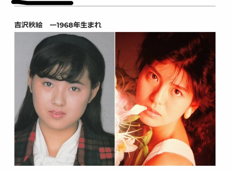左は本人で、右は南野陽子の若い頃。ふたりは「スケバン刑事II」で共演していましたね。しかしなぜここは「南野陽子の昔と今」じゃないんだろ?