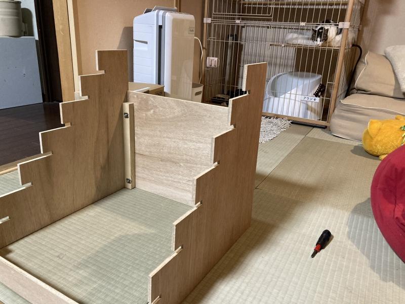 ママが気合を入れて書いた設計図を見てホームセンターのおじさんが気合を入れて作ってくれた組み立て式のひな壇を