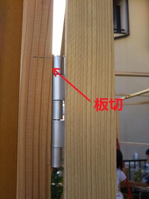 よく見ないと分かりませんがドア面にも微妙な隙間が・・・。開閉に影響が出たため、薄い板切れを挟んで微調整しました。