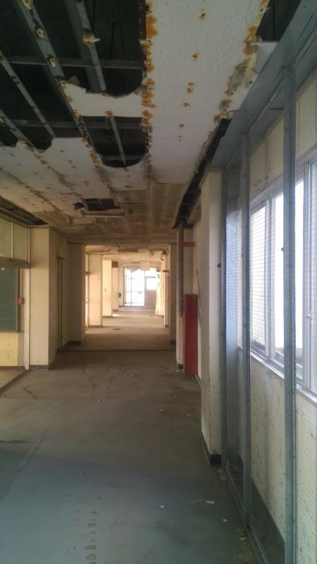 小学校の浸水深は4.6m。校舎1階の天井は落ちてしまっています