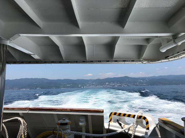 初島へは熱海港からフェリーでたったの25分。デッキで風にあたったり、追いかけてくるカモメを眺めているうちに着いてしまいます。たまにトビウオが飛ぶ様子も見ることができますよ。