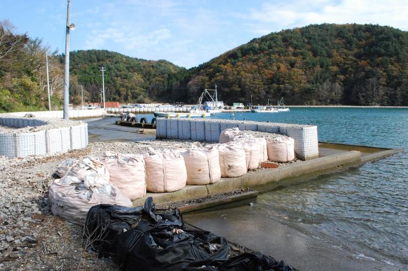 津波で多くの建物が失われた上、地盤沈下がひどく竹浦漁港の岸壁は波に洗われている。(2012年11月)