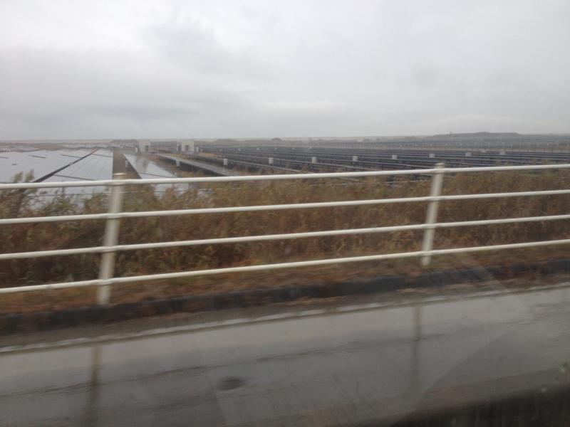 相馬市の磯部地区。広大な土地にソーラーパネルが敷き詰められている。