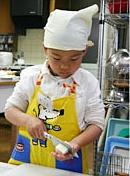 お豆腐の手の上切りに挑戦!