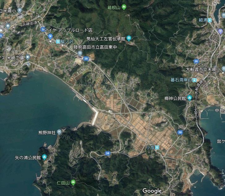 箱根山と仁田山の間の平野に津波が押し寄せ、広田半島は島になったそうです
