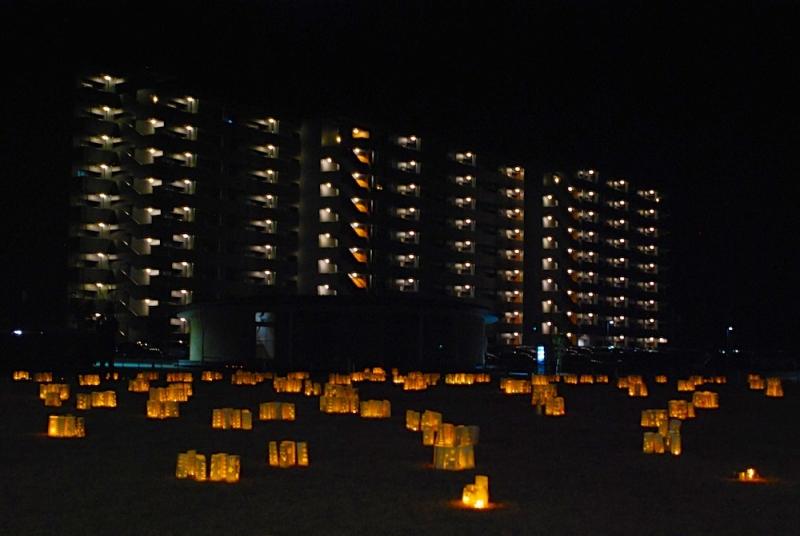 灯火の向こうに県営住宅の灯り