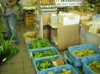 農協店内。島で獲れた作物やお土産がずらっと並ぶ。