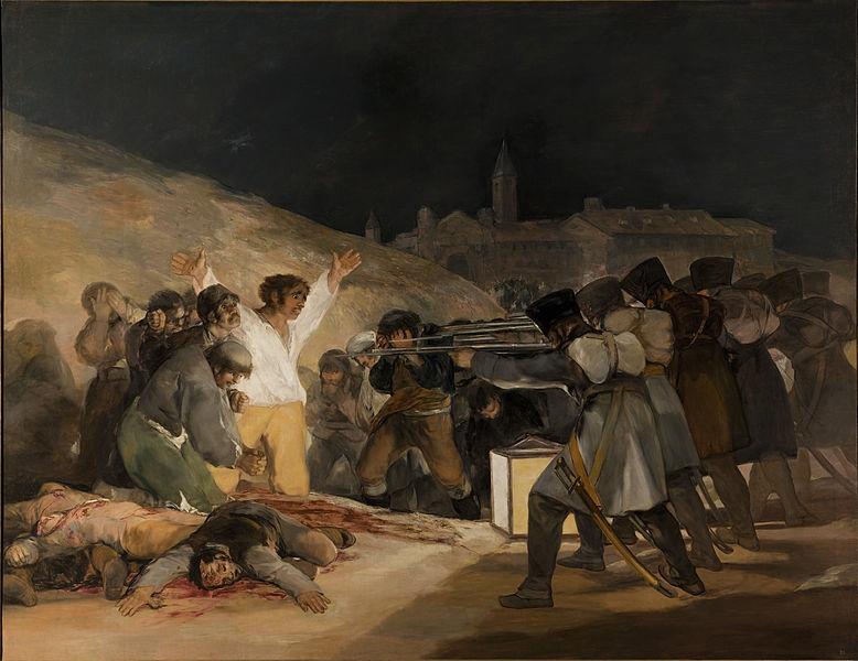 「マドリード、1808年5月3日(プリンシペ・ピオの丘での虐殺)」フランシスコ・デ・ゴヤ:プラハ美術館(Wikipediaより)