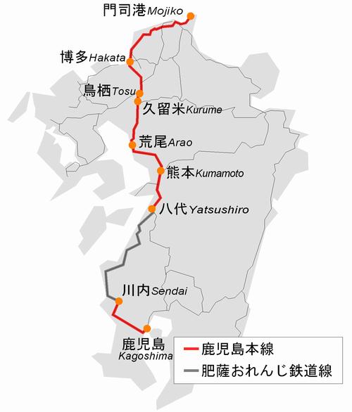 路線図。八代駅から川内駅はJR鹿児島本線ではなく、肥薩おれんじ鉄道