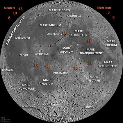 アポロ着陸地点(出典:http://www.lpi.usra.edu/lunar/missions/apollo)
