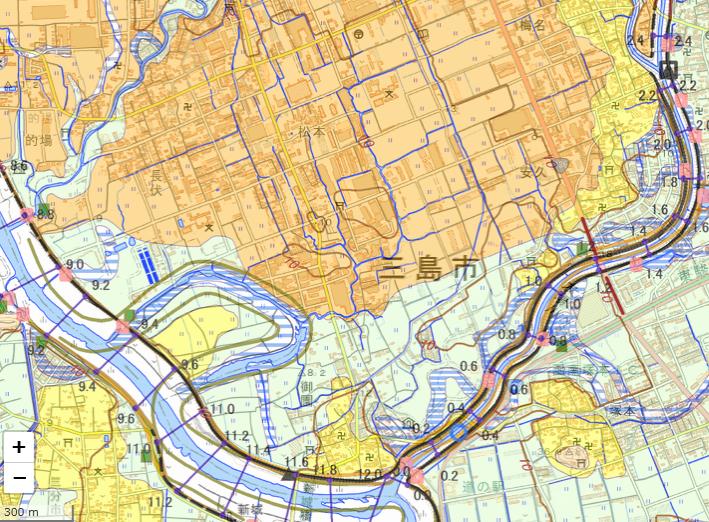国土地理院「治水地形分類図 統合図」より