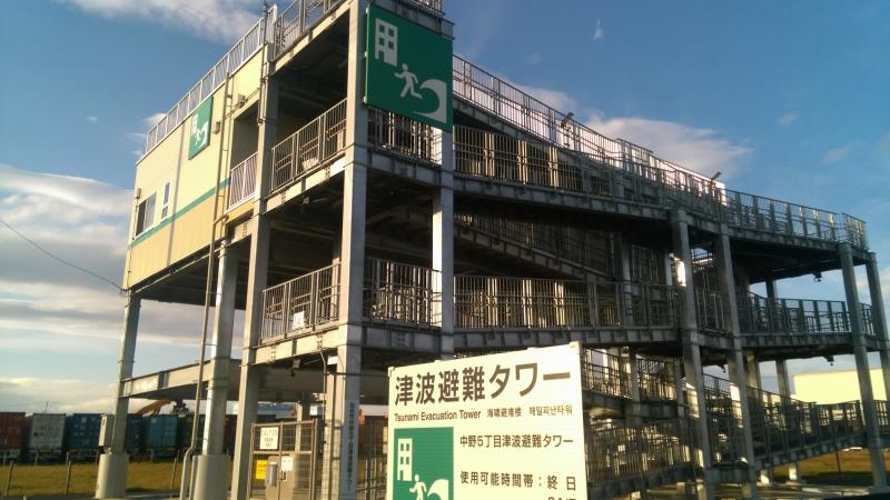 仙台市第1号として建てられた中野五丁目津波避難タワー