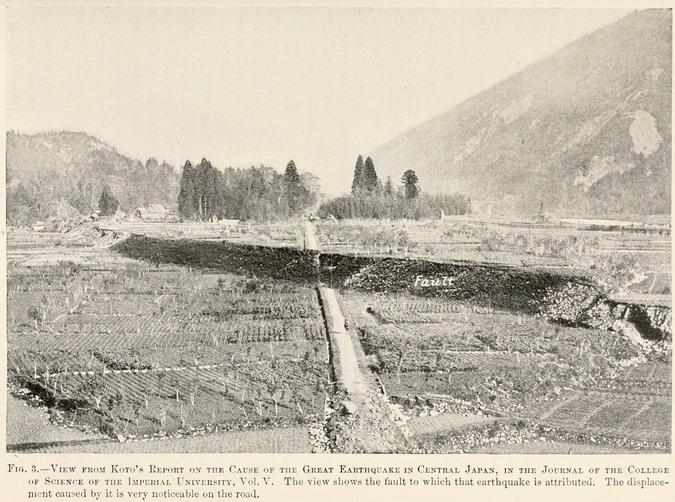 地震で大きく動いた根尾谷断層帯。断層が上下に大きくずれて道路が断ち切られている。帝国大学の資料を掲載した米雑誌「Popular Science Monthly Volume 47」(1895年)より引用