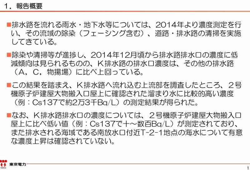 「2号機原子炉建屋大物搬入口屋上部の溜まり水調査結果|東京電力 平成27年2月24日」より。1ページのキャプチャ