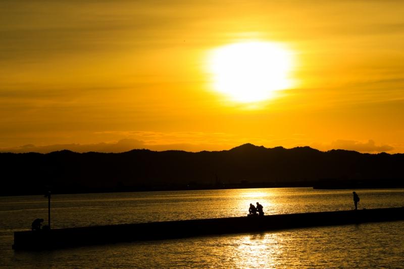 鳥の海の夕焼け