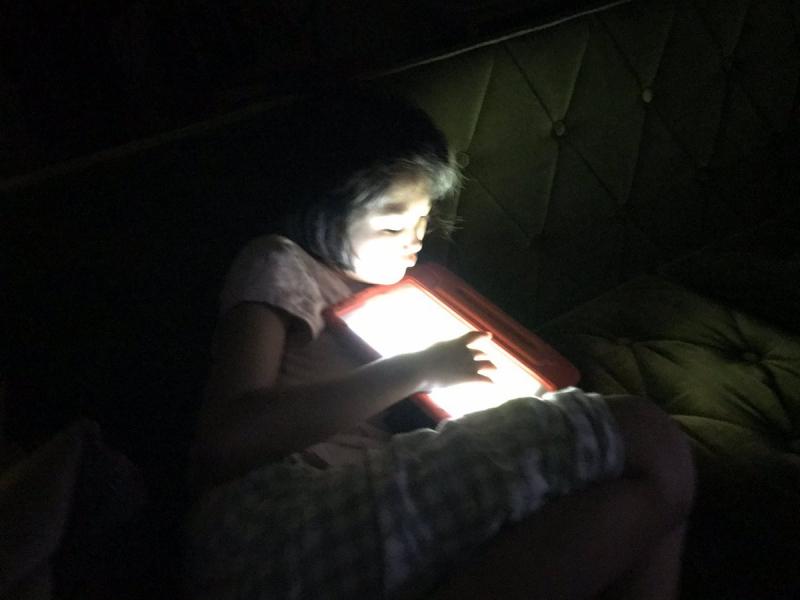 「みんなもう寝るよ!」と電気を消してひとりにしても平気。iPadを駆使する幽霊みたいです。