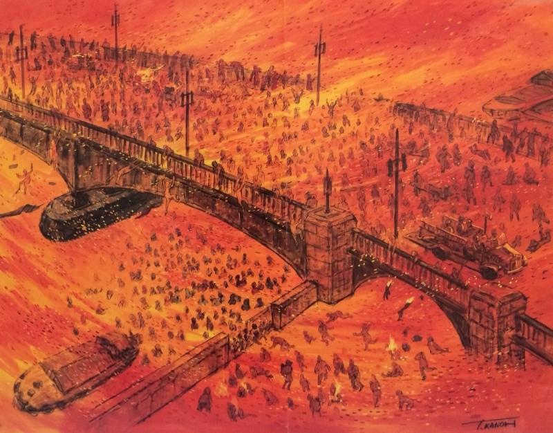 狩野光男「言問橋浅草川の火焔地獄」(平和のための戦争展のパネルを撮影)