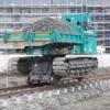 釜石市鵜住居付近で進められる鉄道工事